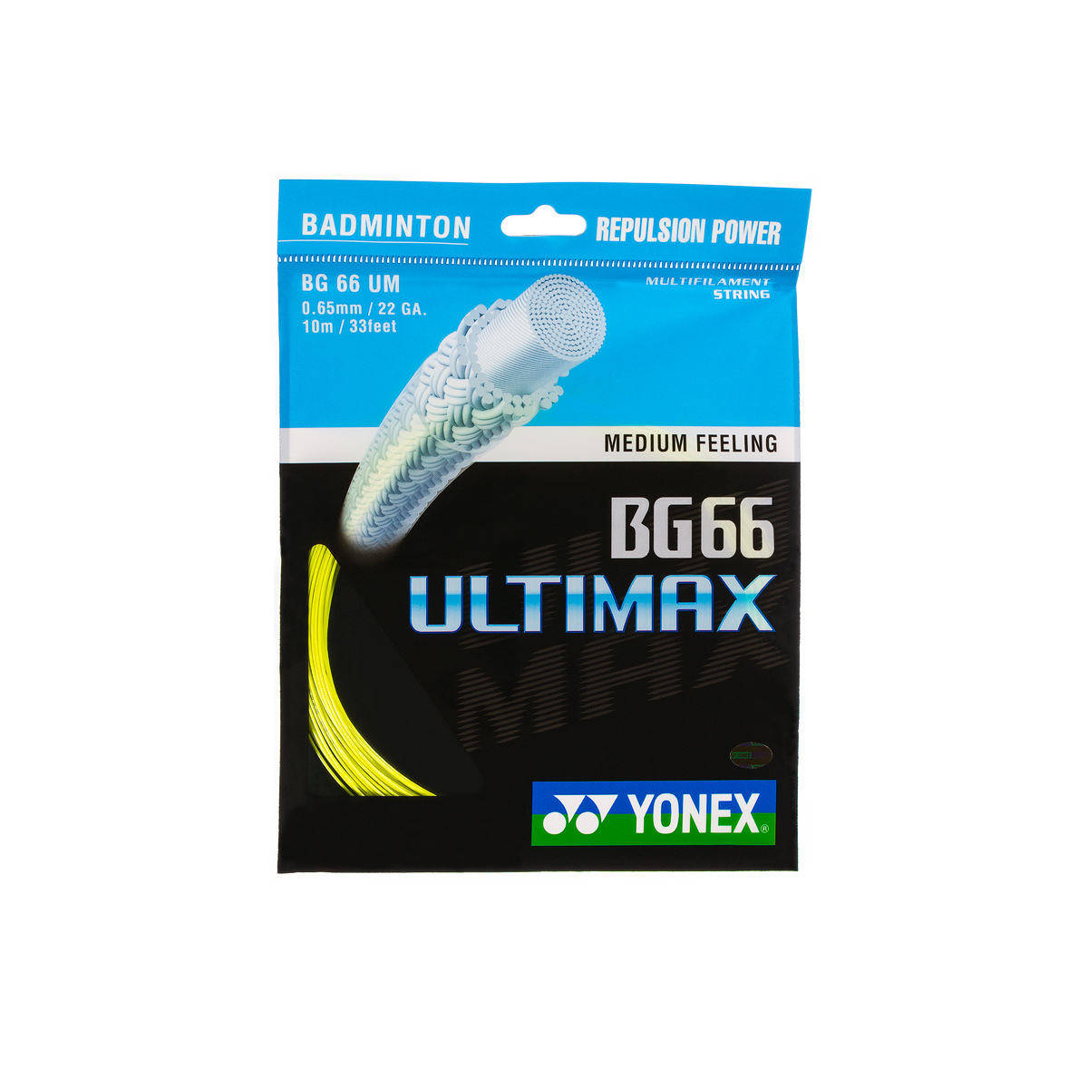 Badmintonsaite Yonex BG 66 Ultimax Yellow (0.65 mm)